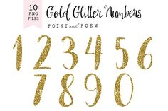 Glitter Numbers Clip arts by Point and Poem on @creativemarket