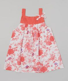 Look what I found on #zulily! Peach Floral Pin Tuck Dress - Infant, Toddler & Girls by Rim Zim Kids #zulilyfinds