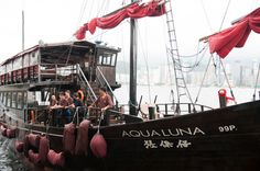 Aqua Luna - traditional Chinese 'junk' boat floating in Victoria Harbour, HK
