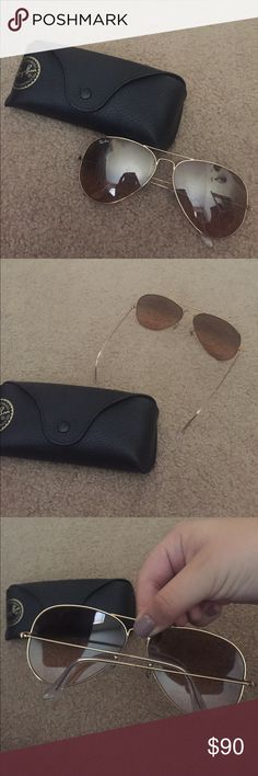 Rayban Aviators Only worn maybe 10 times, just not my style anymore, super great color and style! No flaws, no trades, make me an offer! Ray-Ban Accessories Sunglasses