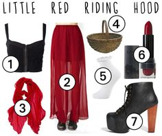 Little Red Riding Hood. I like this as a real outfit... Edgy. Minus the basket of course.