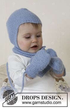 Ravelry: Baby Aviator Hat, scarf and mittens pattern by DROPS design Baby Knitting Patterns, Baby Patterns, Free Knitting, Drops Design, Fingerless Gloves Knitted, Knitted Hats, Crochet Hats, Cardigan Bebe, Drops Baby