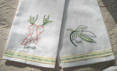 Peas and Carrots Hand Embroidered Tea Towels