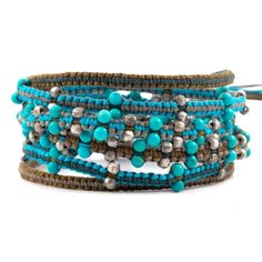 The Turquoise Mix Wrap Bracelet on Cotton Cord by jewelry designer Chan Luu