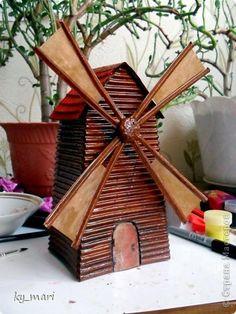 Макет модель Моделирование конструирование Ветряная мельница Картон гофрированный фото 1