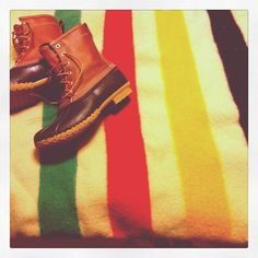 Hudson's Bay Blanket and Bean Boots #LLBean Photo by jaimerochelle13 - Instagram