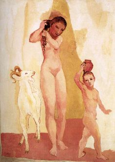 """Girl and Goat"".Artist: Pablo Picasso Completion Date: 1906 Style: Expressionism Period: Rose Period Genre: nude painting (nu). Kunst Picasso, Art Picasso, Picasso Blue, Picasso Paintings, History Of Modern Art, Art History, Art And Illustration, Pablo Picasso Young, Picasso Rose Period"