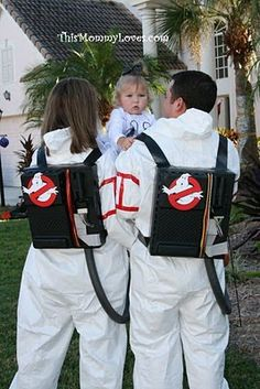 Cute ghostbusters and ghost matching Halloween costumes for family