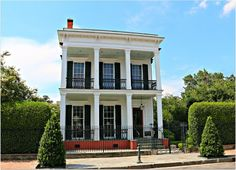 Garden District Home, Double Balcony 15 New Orleans Architecture, Greek Revival Architecture, Southern Architecture, New Orleans Garden District, Houston Houses, Greek Revival Home, House With Balcony, Louisiana Homes, New Orleans Homes