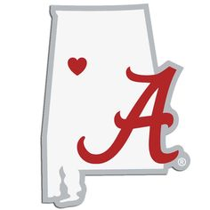 Description: It's a home state decal with a sporty twist! This Alabama Crimson Tide decal feature the team logo over a silhouette of the state in team colors and a heart marking the home of the team.