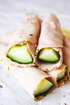 Five 21 Day Fix Snacks - Turkey, Dijon, & Cucumber Wraps