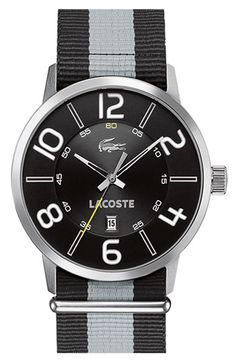 Lacoste 'Barcelona' Fabric Strap Watch available at #Nordstrom