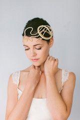Crystal and Lace Knots Bridal Headpiece #303HP   januaryrosebridal