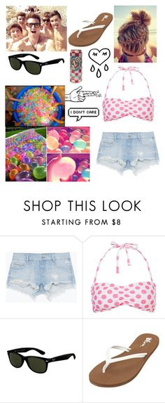 """""""Water Balloon Fight with O2L"""" by kaylarose8902 ❤ liked on Polyvore featuring Zara, Ray-Ban and Volcom"""