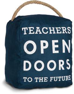Open Door Decor - Teachers Open Doors to the Future Navy Blue Decorative Door Stopper Shelf Decor