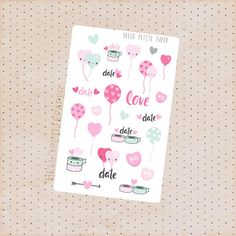Valentines day stickers  Kawaii Date Glossy by HelloPetitePaper