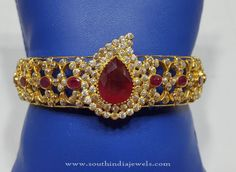 Gold Bangle with Red Stones, Red Stone Bangles, Gold Bangles Collections.
