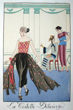 "Illustration by George Barbier (1882-1932), La toilette délicieuse, ""Falbalas & fanfreluches"", Charles Rahn Fry Pochoir Collection."