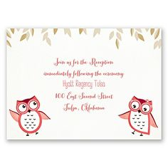 Owl You Need is Love - Guava - Reception Card Whimsical Wedding Invitations, Wedding Reception Cards, Davids Bridal, Owl, Banner, Color, Banner Stands, Owls, Colour