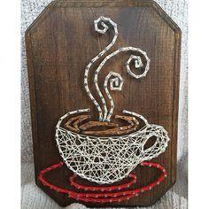 Coffee string art by imhangingitup Nail String Art, String Crafts, Anchor String Art, Resin Crafts, Diy Art, Stylo 3d, Arte Linear, Diy Y Manualidades, String Art Patterns
