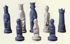 Jasperware chess pieces from a set designed by Arnold Machin in 1938.