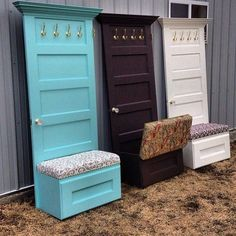 Brilliant DIY Mudroom Bench for Creative Home -- 35 Brilliant DIY Mudroo. 35 Brilliant DIY Mudroom Bench for Creative Home -- 35 Brilliant DIY Mudroo., 35 Brilliant DIY Mudroom Bench for Creative Home -- 35 Brilliant DIY Mudroo. Repurposed Furniture, Home Projects, Diy Furniture, Coat Hanger Diy, Home Diy, Hanger Diy, Doors Repurposed, Creative Home, Diy Mudroom Bench
