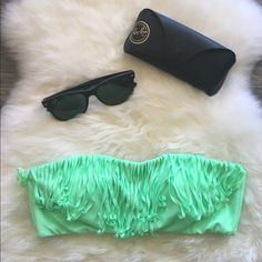 VS Fringe Bandeau Swim Top Like new condition - only worn a couple times! Has gold clasp closure, removable padding and attachable straps that have never been used. Fun, bright green color  No trades, reasonable offers welcome! Victoria's Secret Swim Bikinis