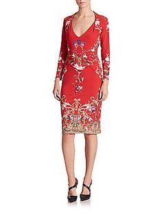 Roberto Cavalli Floral-Print Sheath Dress - Rosso Accent - Size