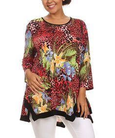 Look what I found on #zulily! Red Jungle Scoop Neck Top - Plus #zulilyfinds