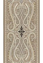 Pasha Paisley  This grand and exquisitely detailed paisley design is adapted from an antique paisley shawl that caught Martyn's eye. It features a dramatic vertical repeat, with a center medallion and border design reproduced from the original fabric.