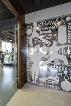 fitness center wall graphics | Pirch - San Diego Headquarters - Office Snapshots