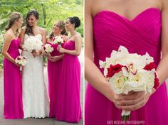 26 bride + bridesmaids and flowers hot pink fuschia