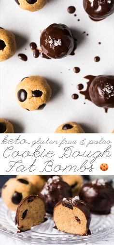 Gluten Free, Paleo & Keto Cookie Dough Fat Bombs Just 5 ingredients & 1g net carb a pop! #keto #ketodesserts #fatbombs #healthyrecipes #glutenfree #paleo