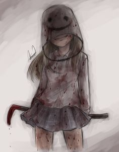 Bloody anime girl Bucket Girl