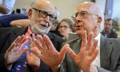 British physicist Peter Higgs (right) and Belgium physicist Francois Englert
