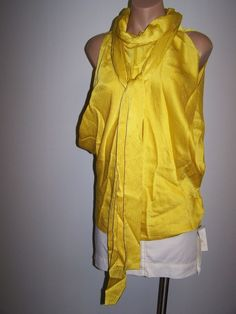 Y & Kei  Size 46 US 12  NWT Yellow Silk Blouse Top Shirt  w/attached Scarf $594 #YKei #Blouse #EveningOccasion