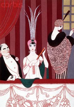 Lithograph of Theater Goers by Georges Barbier