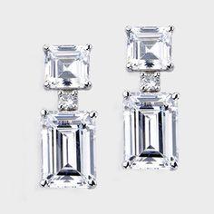 Cubic Zirconia Earrings 12 20 Ctw Emerald Cut 14k Drop Earring E7228w Em