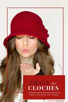 Free Easy Crochet Hat Patterns Crazy For Cloches 12 Easy Crochet Patterns Stitch And Unwind Free Easy Crochet Hat Patterns Free Crochet Hat Patterns. Bonnet Crochet, Easy Crochet Hat, Crochet Beanie, Easy Crochet Patterns, Crochet Crafts, Crochet Baby, Free Crochet, Knitted Hats, Knit Crochet