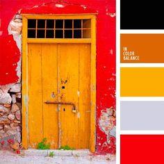 amarillo, amarillo soleado, anaranjado, color madera anaranjada, color naranja, color naranja rojizo, color soleado, colores vivos, combinación contrastante, flores silvestres, negro y rojo, rojizo y amarillo, rojo.