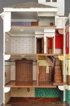 Dollhouse; Marcus (Jim), Wood, San Francisco Victorian-Style, 6 Rooms, Architectural Details, Electrified, 80 inch.