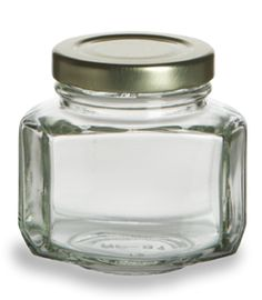 "2""x2.5"" Oval Hexagon Glass Jar 3.75 oz (110ml) w/ Gold Lid $0.75"