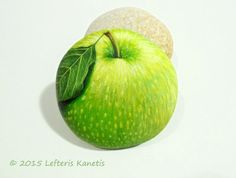 Green Apple Hand Painted Rock  Is Painted by Lefteris Kanetis. Find more at https://gr.pinterest.com/LefterisKanetis/