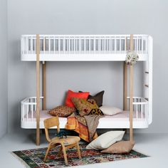 Wood Bunk Beds with End Ladder in Oak by Oliver Furniture
