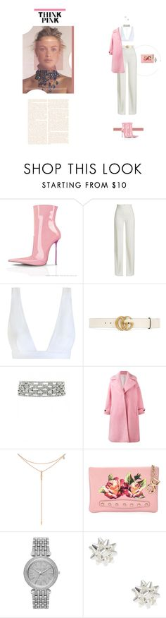 """""""Think Pink"""" by naudad ❤ liked on Polyvore featuring Brandon Maxwell, Zimmermann, Gucci, Olympia Le-Tan, Tacori, Dolce&Gabbana and Michael Kors"""