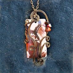 Red Snakeskin Jasper Wire Wrapped Pendant Necklace in Antique Bronze by CareMoreCreations.com #handmade #jewelry #falljewelry