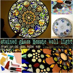 Turn An Old Glass Table Top Into A Stained Glass Mosaic Wall Light Art Recycled Art Recycled Glass Making Stained Glass, Stained Glass Art, Sea Glass Art, Glass Wall Art, Water Glass, Mosaic Wall, Mosaic Glass, Mosaic Mirrors, Mosaic Diy