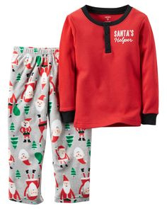 Baby Girl 2-Piece Cotton Thermal & Fleece Christmas PJs | Carters.com
