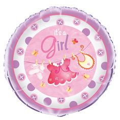 """This foil balloon from the pink clothesline range is a great addition to your party decor. It has a 45.7cm (18"""") diameter and can be filled with helium or air. This balloon looks great on its own or mixed with our latex collection and features a clothesline with cute baby girl clothing items such as a dress, a pair of socks and a bib hanging from the line. The colours featured in this range are lovely and bright with pinks, white and purple."""