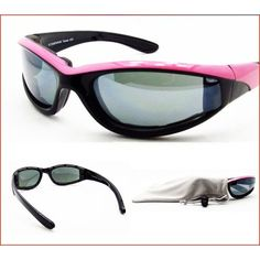 Motorcycle Riding Pink Frame Sunglasses with Foam Cushion for Women